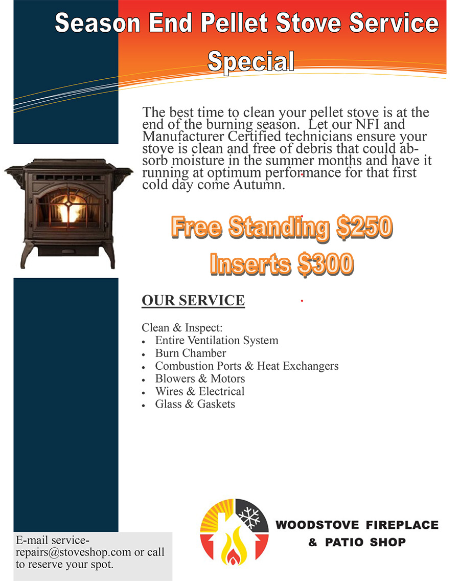 Woodstove Fireplace & Pation Shop - Season End Gas Appliance Service Specials