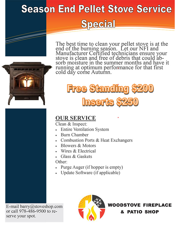 Woodstove Fireplace Shop & Patio, MA - Pellet Stove Service Cleaning Special