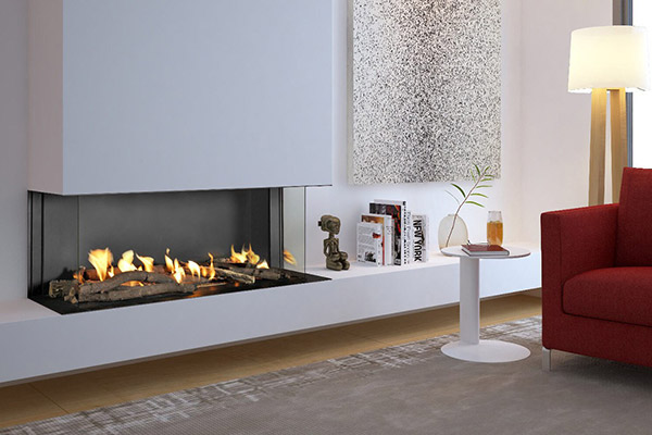 Flare Double Corner - Bay Linear Fireplace