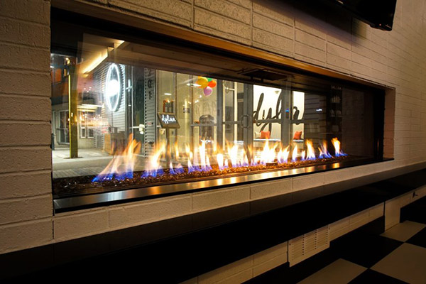 Flare Front & See Through - Modern Commercial Frameless Fireplace