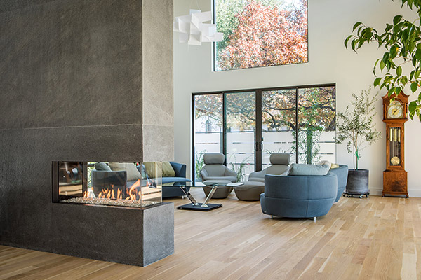 Flare Room Definer - Peninsula Linear Fireplaces